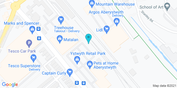 Map of 52.41285,-4.08058