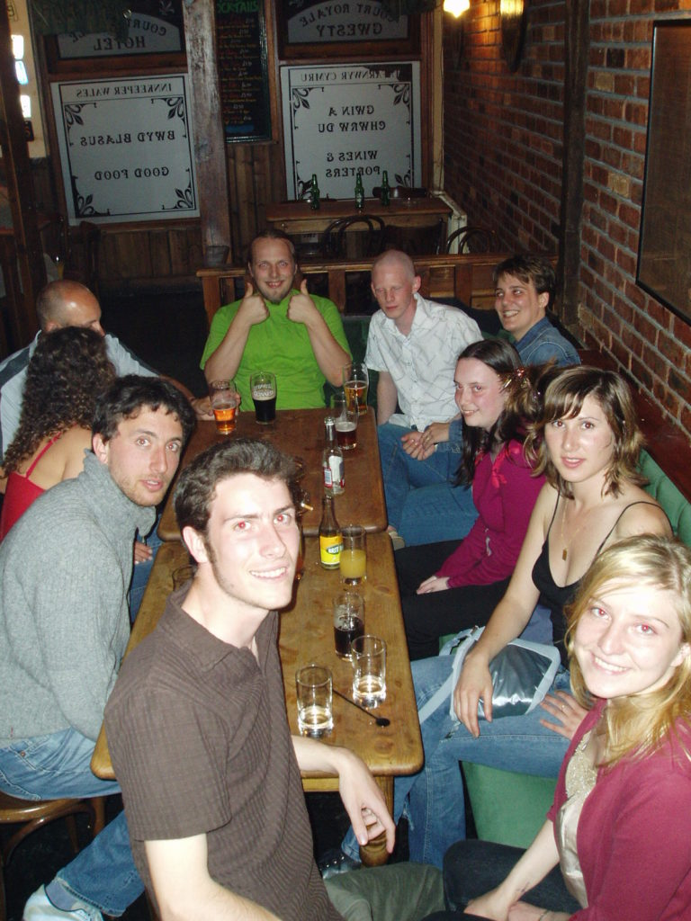 Dan with SmartData workmates (and hangers-on) in Harleys, Aberystwyth.