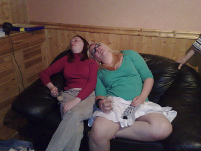 Claire and Becky, exhausted
