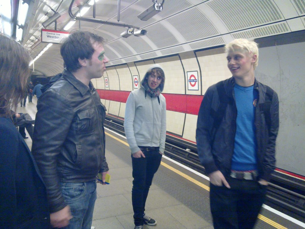 Robin and friends on the London Underground