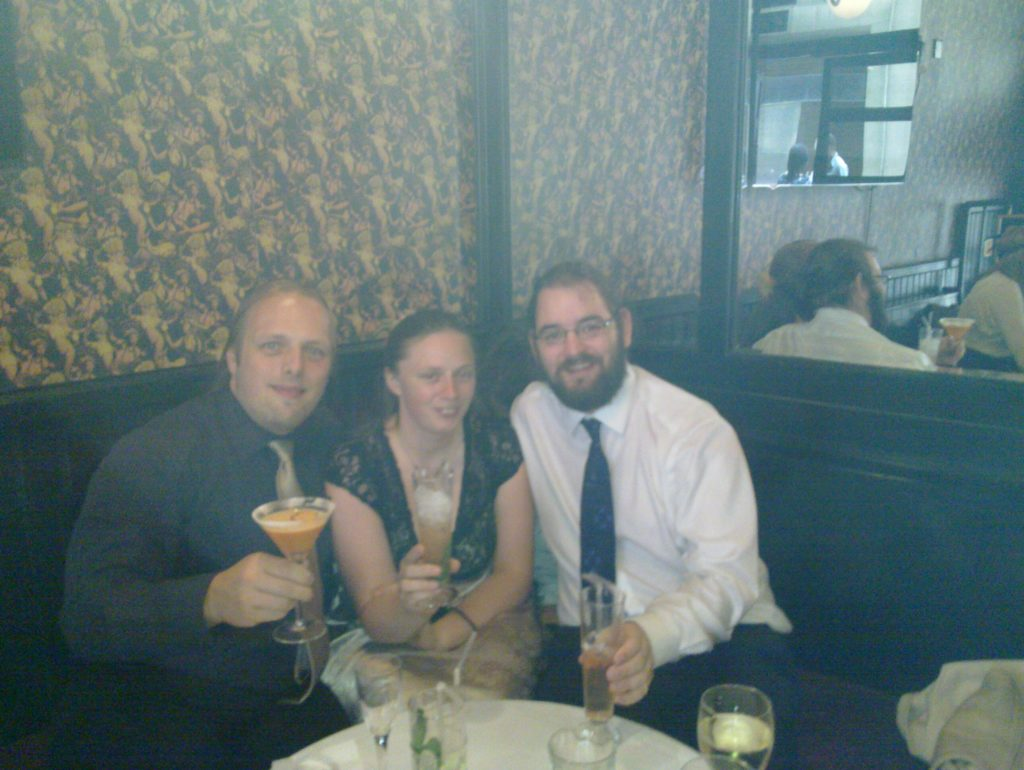Dan, Ruth and JTA drinking cocktails in Volupte
