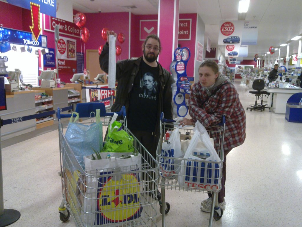 Ruth and JTA with a huge amount of shopping.