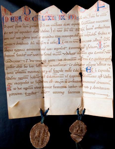 The Charter Of Clerecía De Ledesma A Contract From 1252 Note Cut Top Edge Where It Originally Joined To Other Half