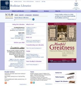 The Bodleian Libraries website as it appeared in 2011.