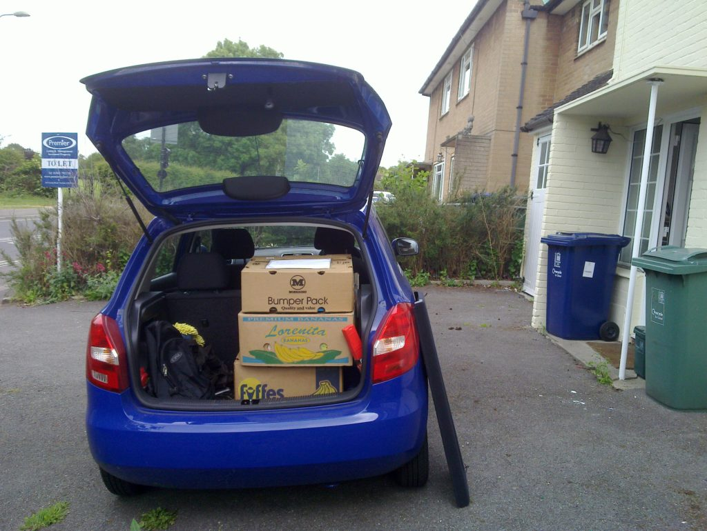 Isis, Ruth and JTA's car, laden with boxes.