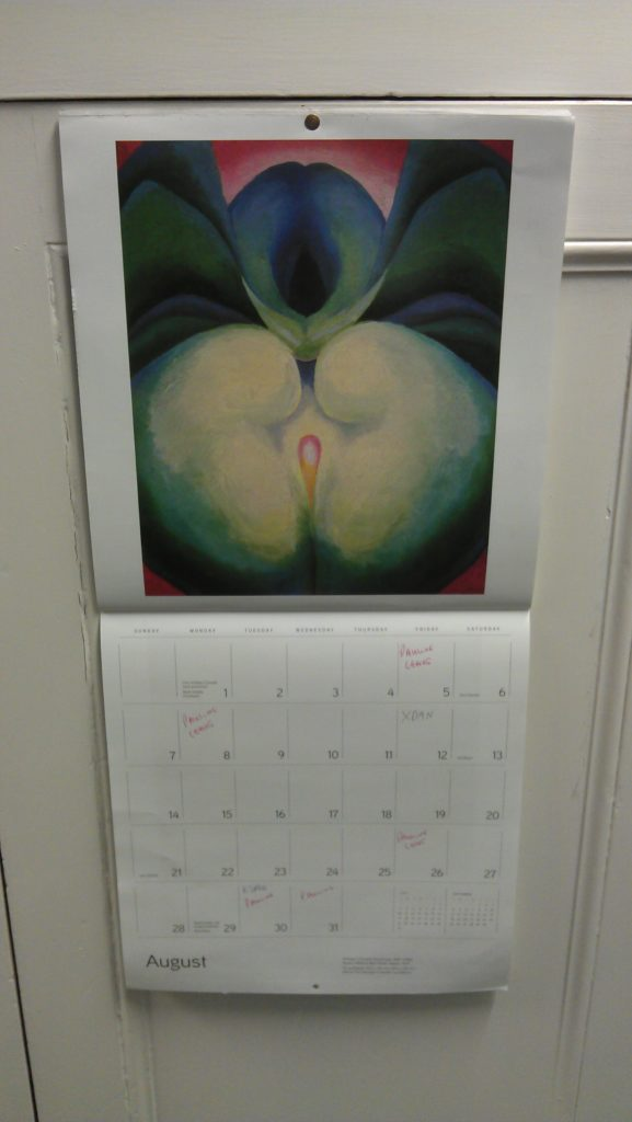 Our calendar this month. That's supposed to be a flower, is it?