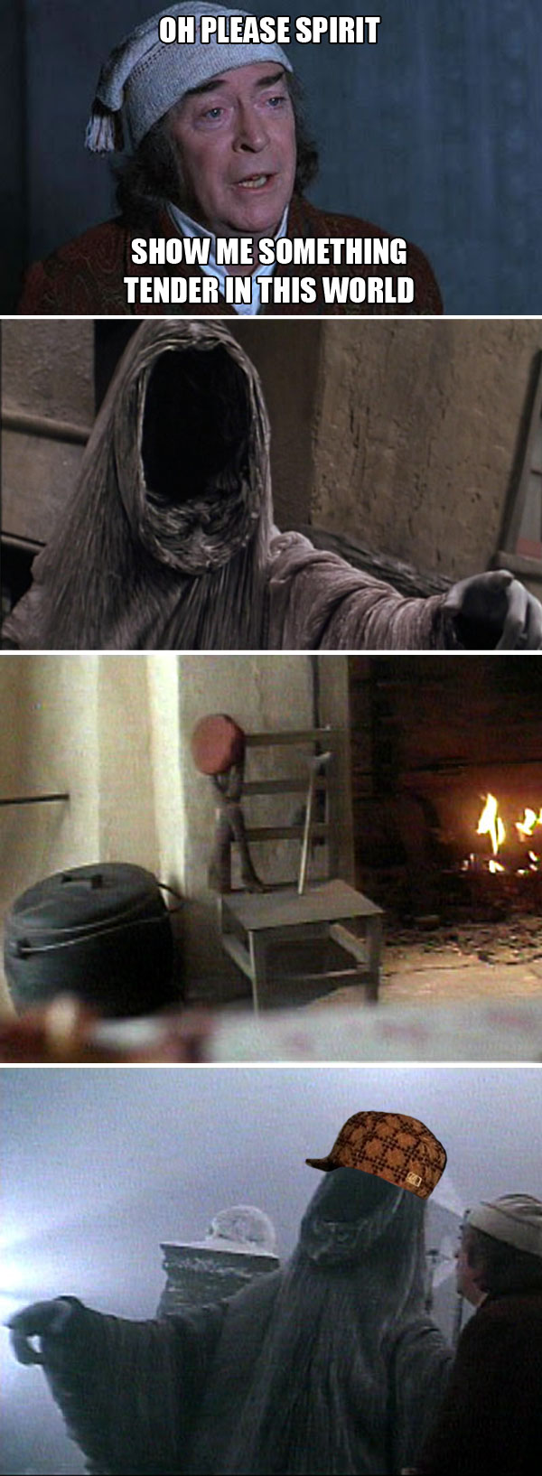 Scrooge asks the Ghost of Christmas Future to show him what he wants to see, but that troll shows him Tim Cratchitt's abandoned chair and crutch