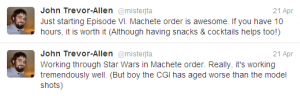 JTA tweets about Star Wars: Machete Order