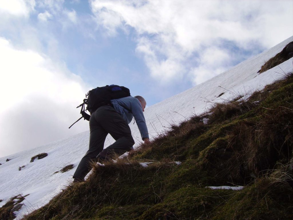 My dad, climbing, moments before his accident.
