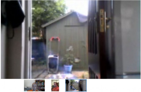 A Google+ Hangout with my family and I.