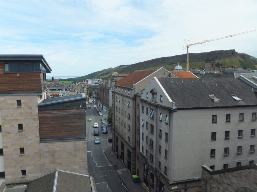 A view of Arthur's Seat, over the rooftops, from my bedroom window.