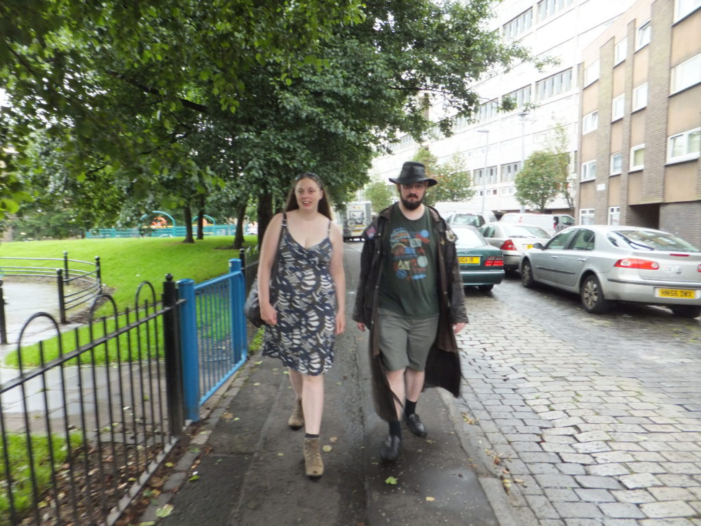Ruth and JTA trudge through the wet suburban streets of Leith.