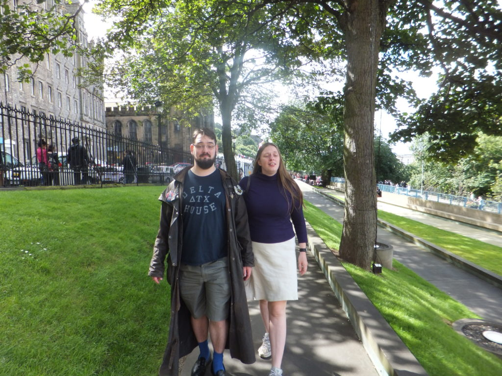 JTA and Ruth head along the path to the Mus£um On The Mound.