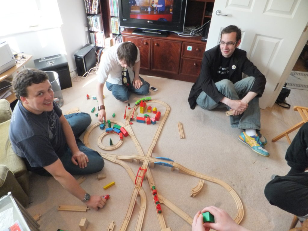 Gareth, Rory and Adam put the finishing touches on their (second) wooden railway layout.