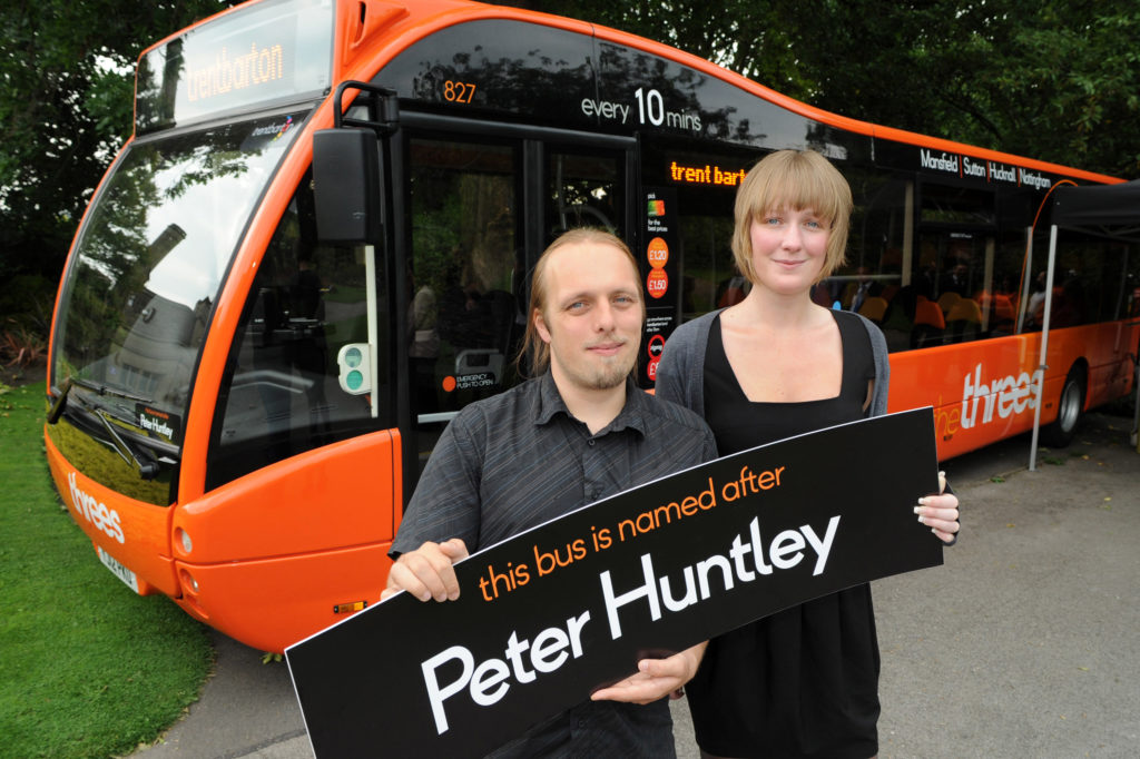 My sister and I with the bus named Peter Huntley.
