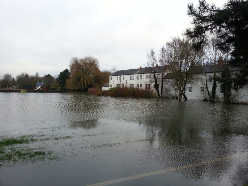 In Hinksey Park, the playing fields and cycle path are completely underwater.