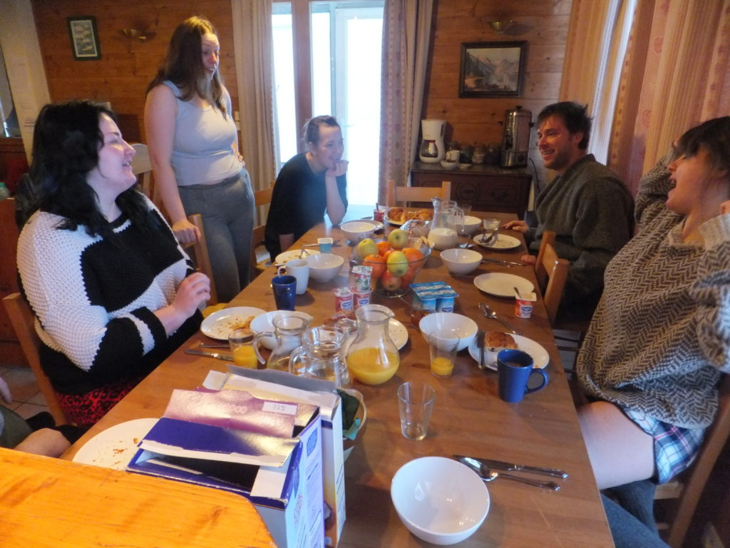 Ruth joins Becky, Harriet, Owen and Cat at the chalet's dining table.