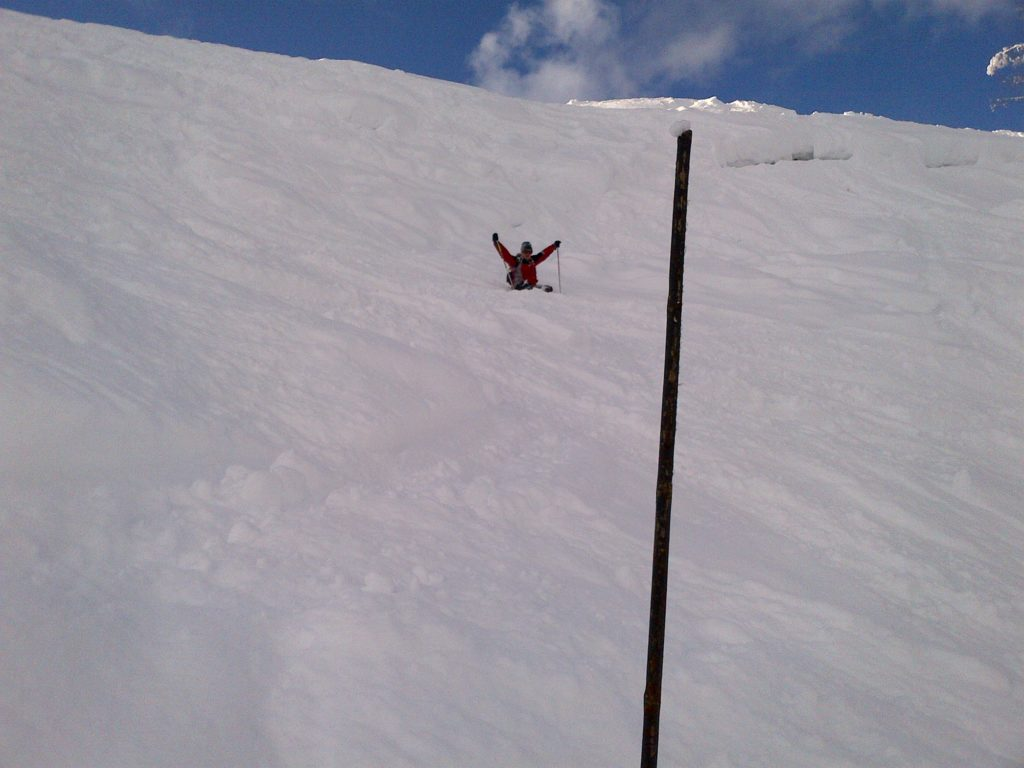 """Following one of my first proper tumbles in years - and damn, it was a spectacular one, snowballing down black run """"Yeti"""" when I took a corner too fast - Sarah snapped this picture."""