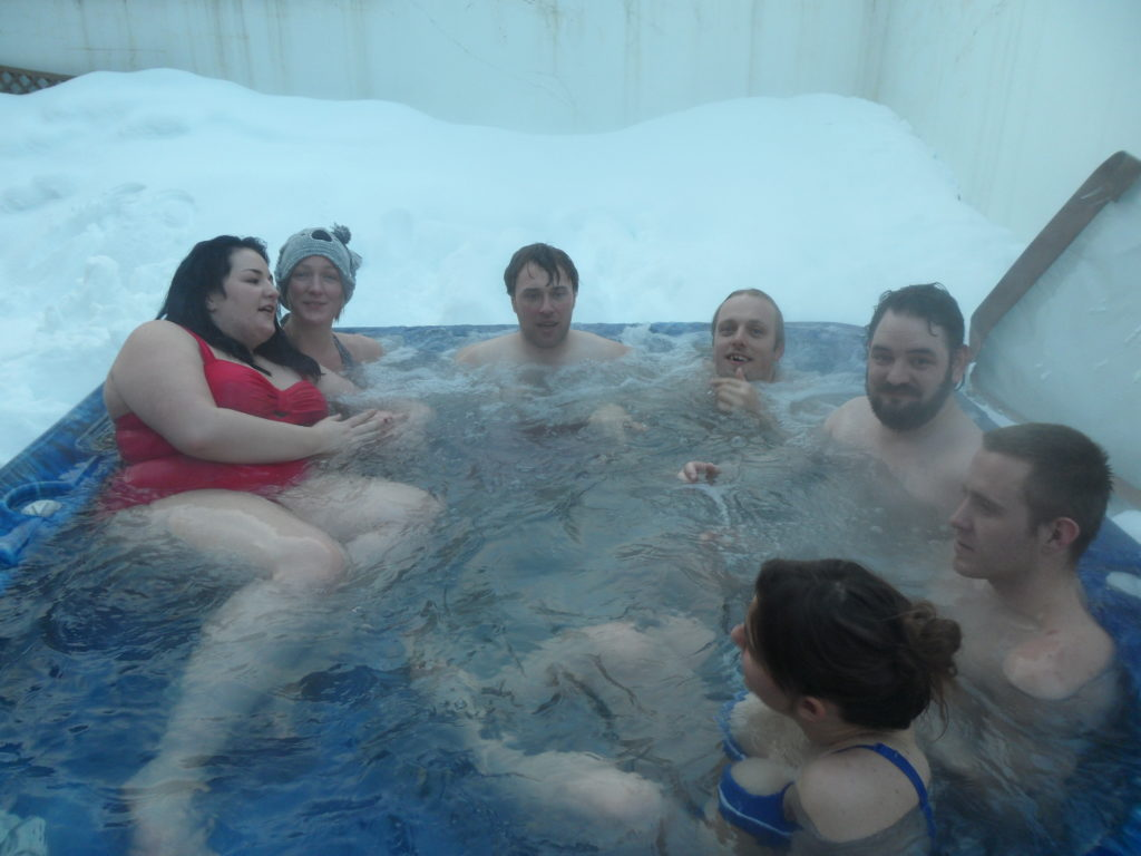 I'm sure that the hot tub was only meant to seat five or six, but that didn't stop us all piling into it at the end of a day's snowsports.