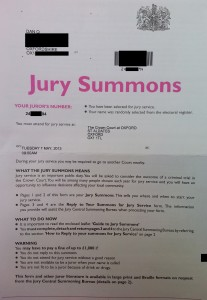 My Jury Summons, showing my juror number and instructions on what a Jury Summons means. Parts are censored to protect my address and details that could make it possible for somebody to impersonate me as a juror.