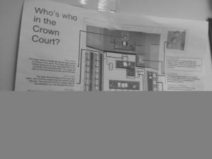 "A poster in the Jury Assembly Area: ""Who's who in the Crown Court?"""