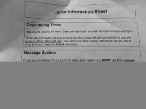 Juror information sheet, providing details of court sitting times and the juror message system.
