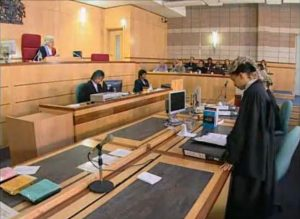 A courtroom scene, from the video Your Role As A Juror