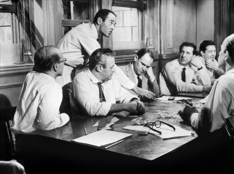 Scene from 12 Angry Men. Henry Fonda explains his vote of