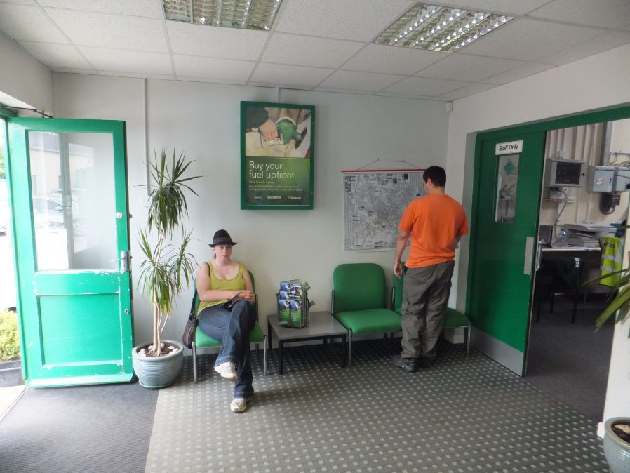 Ruth and Matt at the Europcar office.