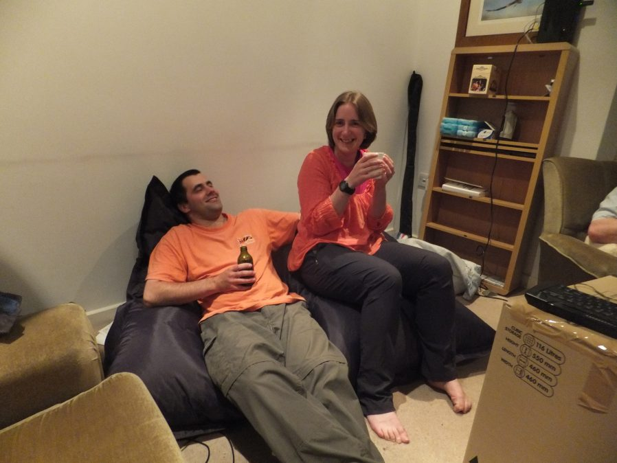 Matt and Susan on a bean bag as we rest at the end of the first day's moving.