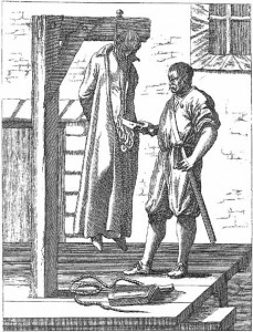A hanged man being quartered by his executioner.