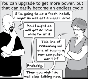 "Frame from the Basic Instructions comic ""How to Justify Upgrading Your Computer""; click for full comic"