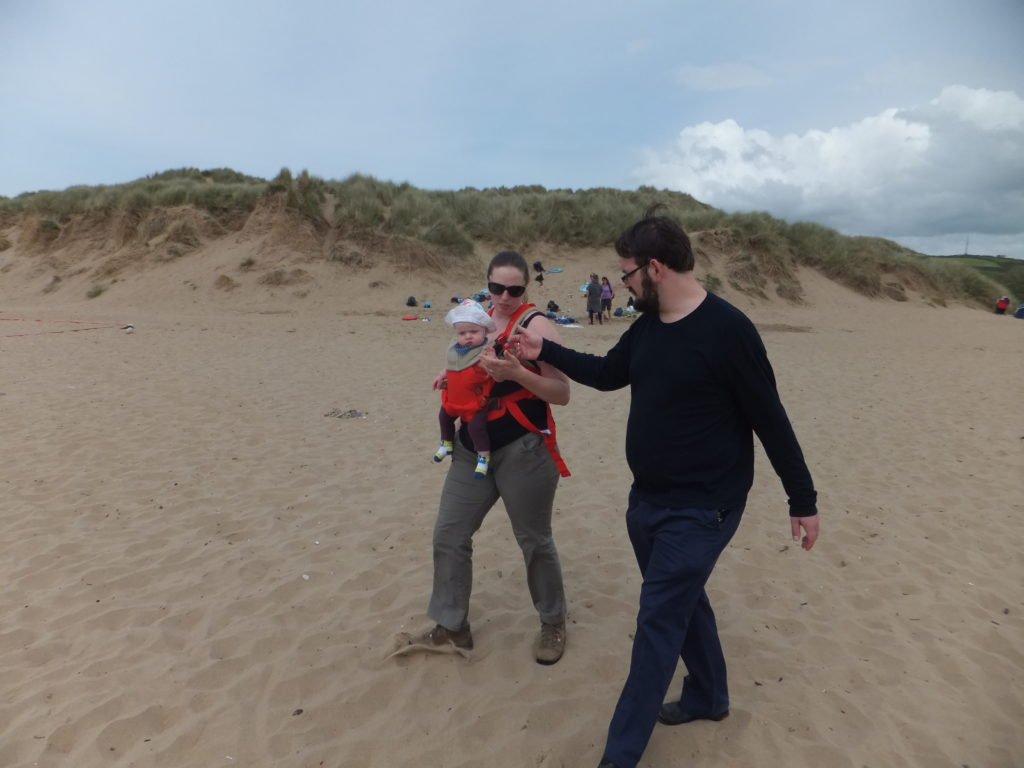 Annabel on the beach with Ruth and JTA