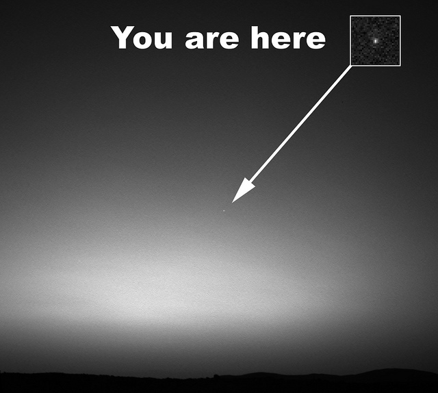 """You are here"" pointing to Earth as seen by Spirit rover"