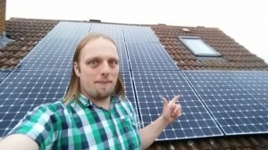 Dan with his solar panels.