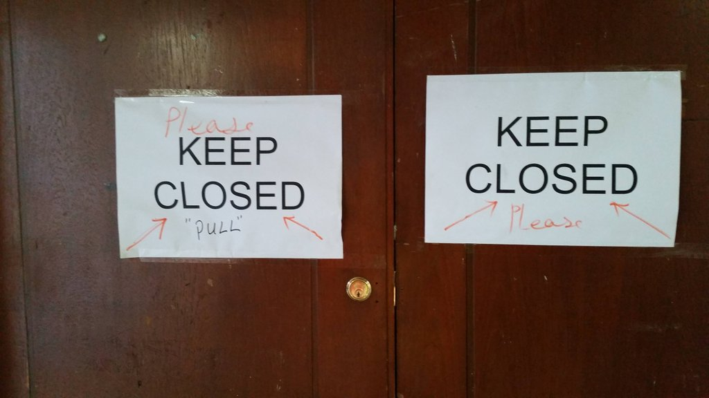 """Keep Closed"" ""Push"" ""Pull"" signs on doors"