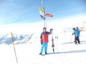 Dan at the summit of Tougnète, near Méribel. Pardon the wonky horizon: Robin took the photo. Also: Alps happened.