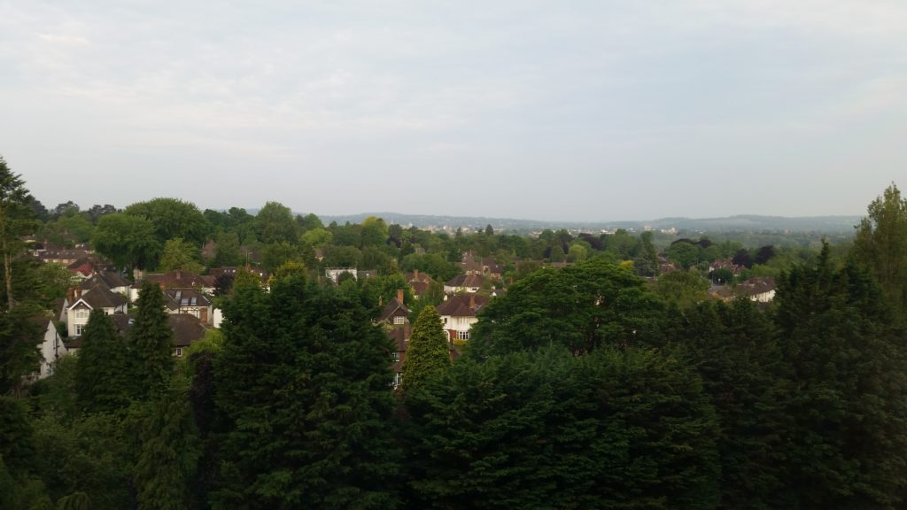 The view from my hospital ward window: Oxford city is visible in the distance.