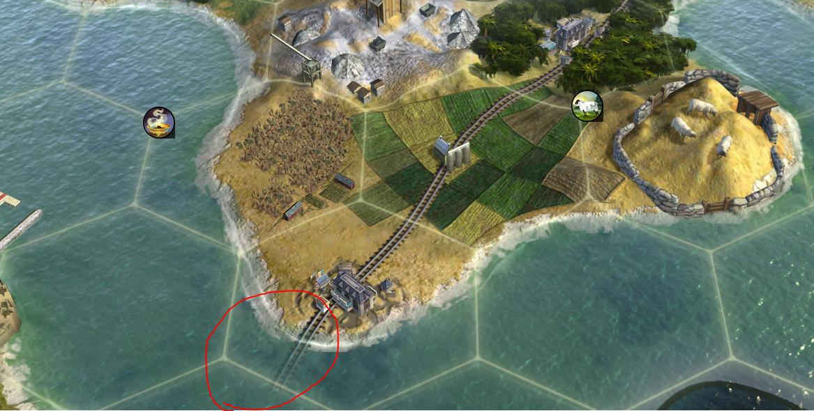 Civilization V train line running into the water...