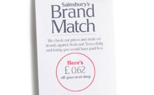 A Sainsbury's Brand Match voucher worth 62p.