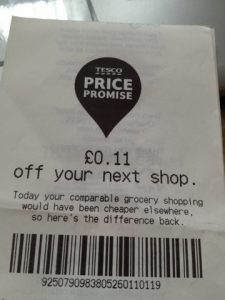 Tesco Price Promise voucher worth 11p off my next shop.