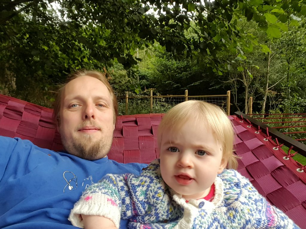 Dan and Annabel on the hammock.
