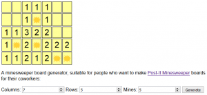 Screenshot of my Post-It Minesweeper board generator.