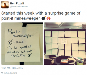 Ben Foxall discovers Post-It Minesweeper