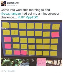 Liz McCarthy tweets about her experience of being given a Post-It Minesweeper game to play.
