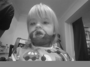Annabel sporting a full beard.