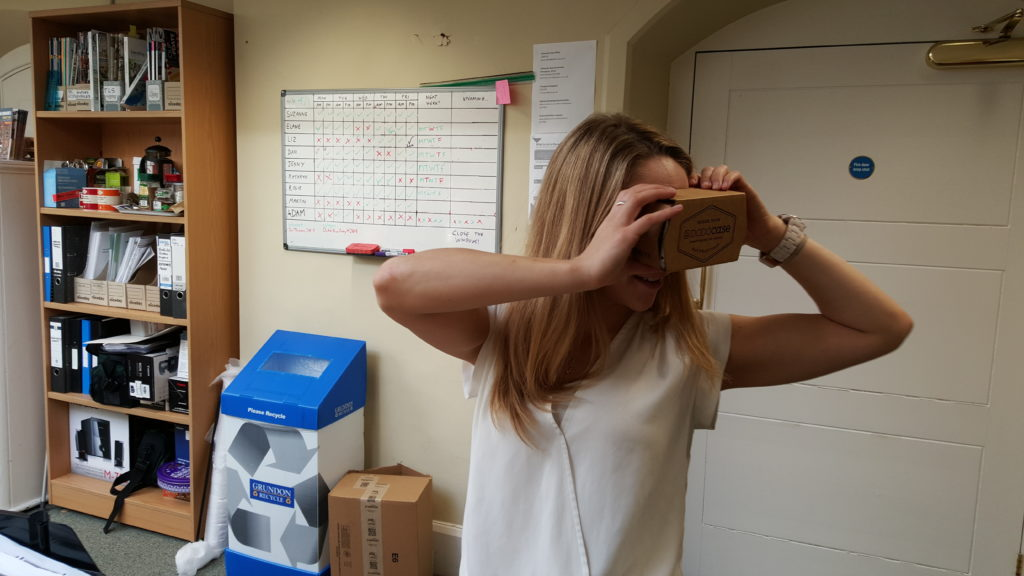 Liz plays with a Google Cardboard.