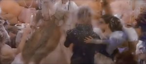 Sarah and Jareth dance in the ballroom scene of Labyrinth.