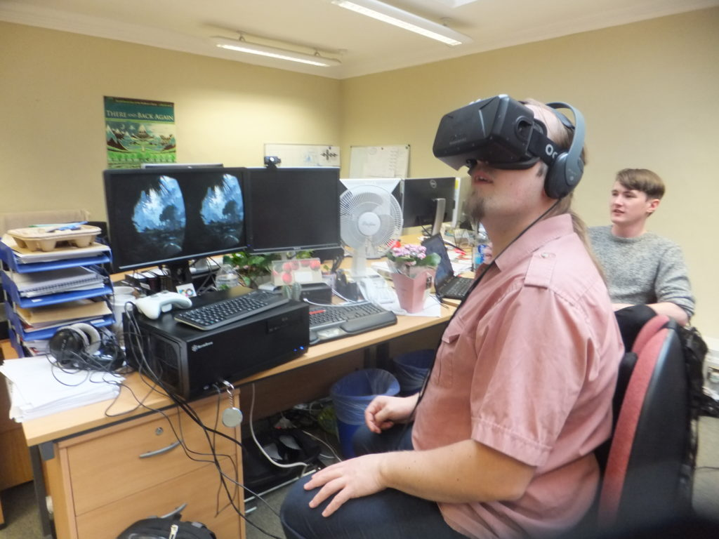 Dan plays Back To Dinosaur Island on an Oculus Rift.