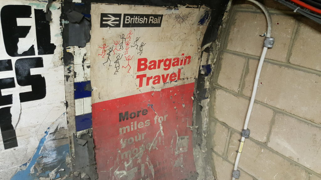 British Rail branded poster from an abandoned tunnel under Euston Station, circa 1960s.